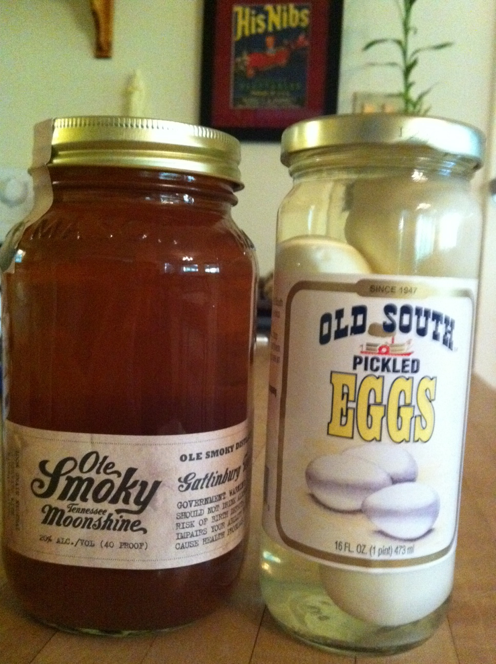 He bought the Ole Smoky moonshine at Spec's, and I picked up the Old South ...