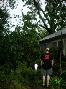 this photo was taken very close to the date on which I wrote that monologue - this is our driveway in the Heights, post Hurricane Ike - my Miata was safely stored in the garage, and James' car was narrowly missed