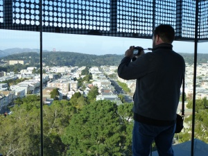 first stop: San Francisco - this is the 9th floor of the de Young Museum - great 360 view of the city - squint and you can see Golden Gate Bridge