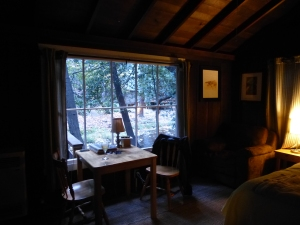 momentary fulfillment of my cabin in the woods fantasy - instead of Deetjen's, this time we stayed at Ripplewood, cabin 2, next to the Big Sur River - there's a deck to the left of this window, which is a great place for a snack and glass of wine