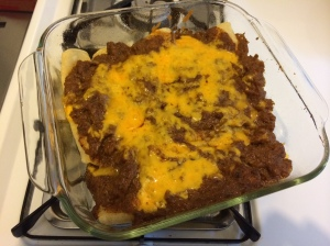 made a batch of Robb Walsh's cheese enchiladas - that's not meat in the gravy - it's just really chunky gravy