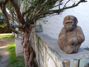 found this fellow in Moss Landing at a place called Pot Stop - yes, he's a monkey sea captain smoking a pipe and thinking about stuff