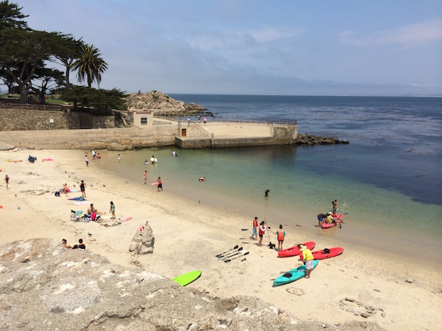 we'll start at the ocean and work our way inland - this is the beach at Lover's Point - the water is usually upper 50s, but there are always a few brave souls who go in without wet suits