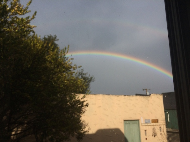 the good thing about so much moisture in the air? rainbows - or, in this case, double rainbows
