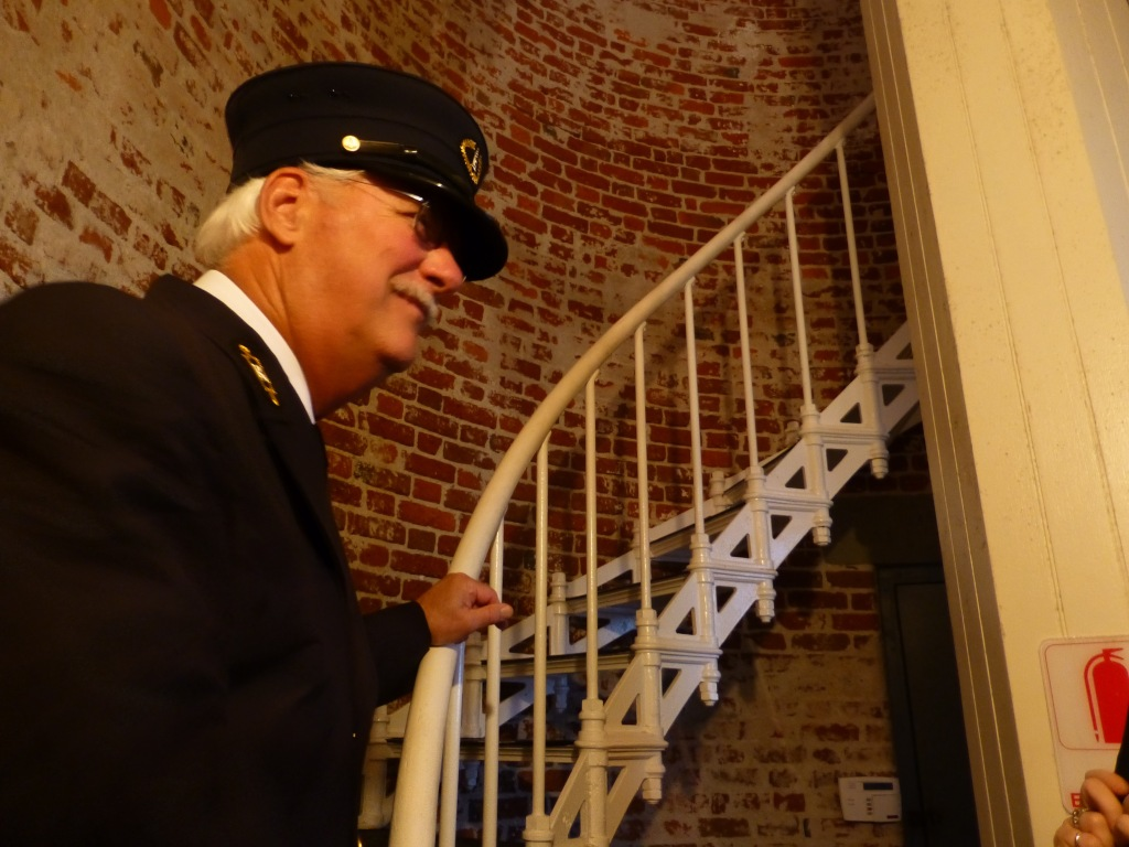 Our tour guide, inside the lighthouse.