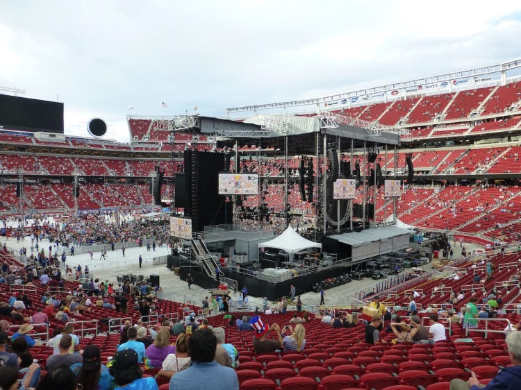 You'd think a band would get lost in a stadium, but the stage was HUGE.