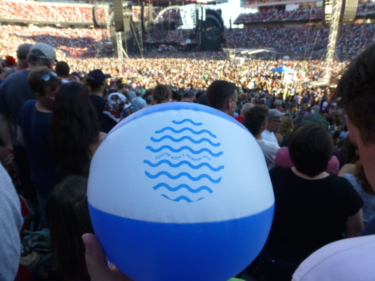 My friend Evan is involved in an effort to create a huge natural swimming pool in the middle of Houston. This beach ball was my Kickstarter reward.